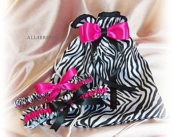 Zebra print bridal garter set and wedding dance bag, bridal accessories hot pink and zebra print.