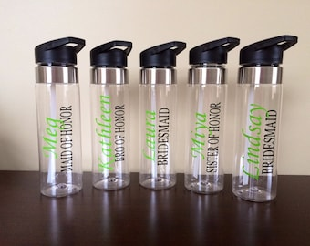 Personalized Water Bottle for Flower Girls, Jr. Bridesmaids, Bridesmaids with Name and Title