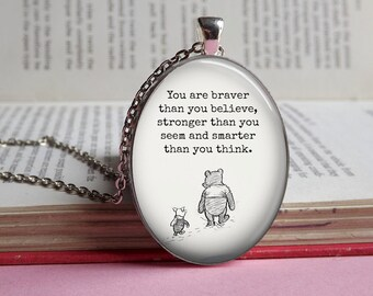 Silver or bronze oval Winnie The Pooh and Piglet 'You are braver than you believe' glass dome pendant necklace (braver, stronger, smarter)