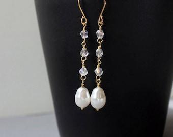 Swarovski Pearl Earrings Pearl Teardrop Earrings White Pearl Bridal Earrings Long Pearl Earrings Bridesmaid Earring Wedding Jewelry Gift Her