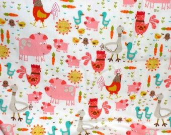 Farm Animals Receiving Blanket - Pink Pig Flannel Swaddle Blanket - Barnyard Animals Blanket - Newborn Flannel Blanket - Baby Photo Prop