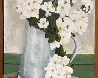 Vintage Jug of Apple Blossoms