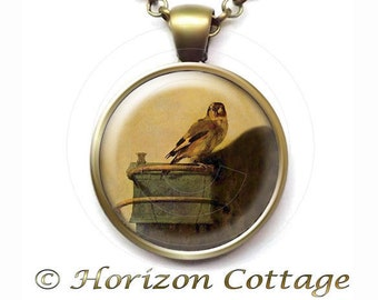 The Goldfinch by Carel Fabritius Necklace, Old Masters' Classic Artwork, Pendant in Your Choice of Finish