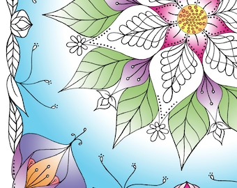 Adult Coloring Page - Botanical Bliss - Instant Download