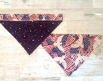 American Flag Over Collar Dog Bandana, Red White & Blue, 4th of July, Memorial Day, Pet Scarf, Reversible