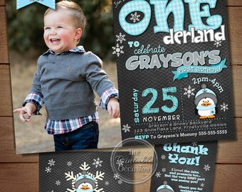 WINTER ONEDERLAND Invitation Chalkboard, Boy Winter Onderland Party, Snowflake Birthday Party First Birthday, Printable, Photo Invitation