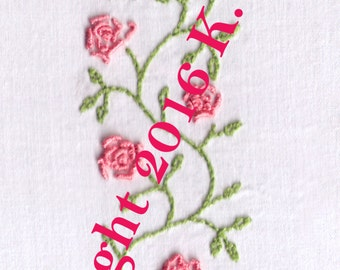 Rose Bush Hand Embroidery Pattern, Potted Plant, Rose, Roses, Bush, Vine, Pot, PDF