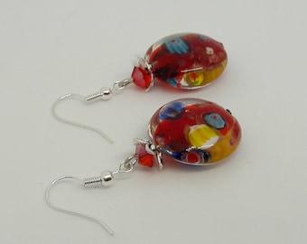 White millefiori - colorful earrings - millefiori earrings - silver jewelry - long earrings-red marbled glass earrings