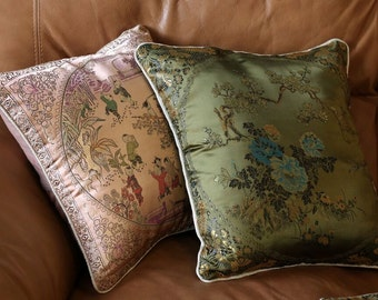 Satin and Silk Asian Themed Pillow Cover-  Salmon Pink with people or Bottle Green with Flower and Butterfly