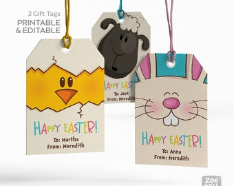 Easter gift tags, EasterTags, Chick, Sheep, Bunny, Easter bunny, DIY Easter Tag, Printable Easter Tags, Instant Download