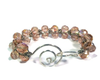 Peach Kiss - Pink/Silver Bracelet - Wire Wrapped Czech Glass Bead Bangle with Hammered Swirl Clasp - Mishimon Designs