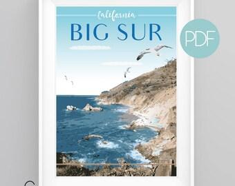 BIG SUR, California, Vintage Travel Poster, diy printable pdf/jpeg download