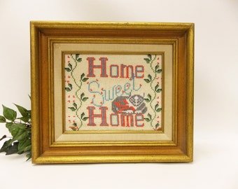 Framed Vintage Home Sweet Home Sign--- Hand Beaded Cat and Welcome Home Sign