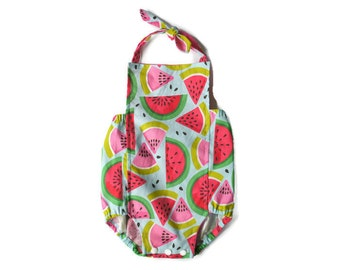 Watermelon Baby Girl Romper | Tutti Frutti | Bubble Summer Sunsuit | Fruit Outfit | Infant, Toddler, Kids, Girl | Newborn - 24 months