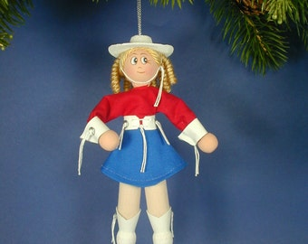 Rangerette Ornament;  Clothespin Rangerette Ornament;  Rangerette Christmas Ornament