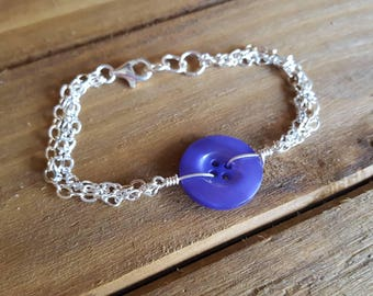 Purple Vintage Button Bracelet, upcycled recycled repurposed, button