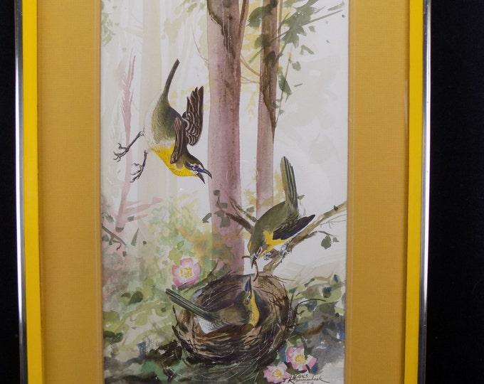 Original Watercolor Painting 20th Century, Birds Nature, Medium Hans Krommenhoek