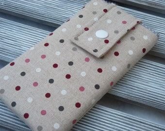 Iphone 8 pouch, dots, iPhone 7 sleeve, iPhone 7 case, iPhone 6s cover, Padded iphone 6 case,  iphone 7 Pouch , dots fabric phone pouch