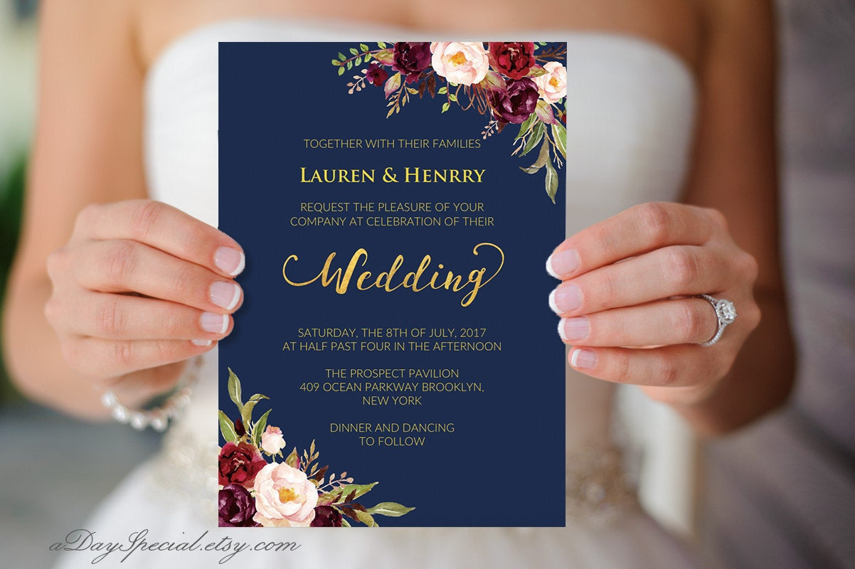 Printable navy wedding invitation burgundy boho floral gold zoom monicamarmolfo Gallery