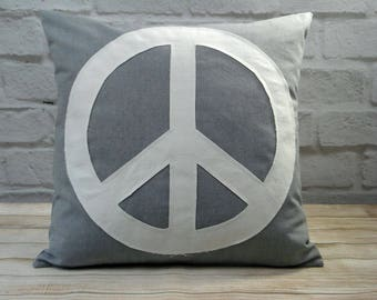 "20"" Applique Peace Sign Pillow Cover Boho Style 20x20"