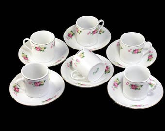 Demitasse Cups and Saucers, Made in Jiepai China, Pink Rose Floral, Espresso Cups, Set of 6, Made with China, Coffee, Hot Chocolate, Tea