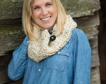 Chunky Button Cowl Scarf - Oatmeal Tweed