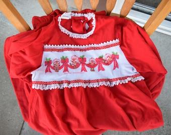 Vintage Strawberry Shortcake Christmas Pajamas Red Soft Lace Mistletoe Ribbon Girl Long One Piece