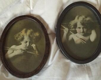 SALE Parkinson Cherub Prints  1897 Cupid Asleep and Cupid Awake Miniature Pair of Art Nouveau Victorian Classic Prints