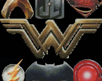 Justice League Pack Cross Stitch Pattern - 7 EASY PATTERNS