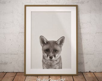 Woodland Fox Art Print, Woodland Fox Printable, Nursery Fox Baby, Nursery Fox Wall Decor,  Nursery Fox Printable Art, Woodland Fox Wall Art