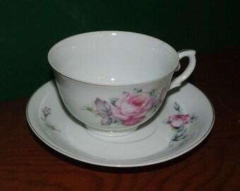 Vintage Pink Rose Tea Cup and Saucer