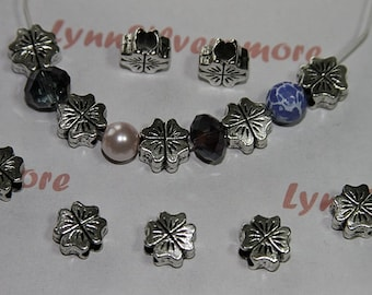 10 pcs  a pack -  10x10 mm Flower  Beads Antique Silver Lead Free Pewter