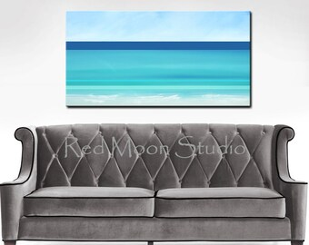 Abstract Seascape, Beach Art, Abstract Ocean Painting, Large 48x24, Original Nautical Art