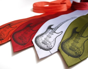 Guitar necktie - Guitar player gift - Musician gift - Instrument Tie - Gifts for Dad - Father's Gift - Guitar player