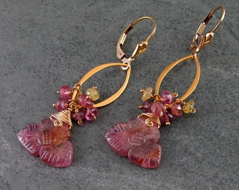 Pink tourmaline flower earrings, handmade 22k gold vermeil carved tourmaline earrings-OOAK