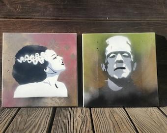 Original Spray paint artwork: Frankenstein and the Bride