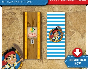 Jake and the Neverland Pirates Mini Candy Bar Wrappers | Pirate Birthday Party | Printable | Invitation & Party Kit Available | Download Now