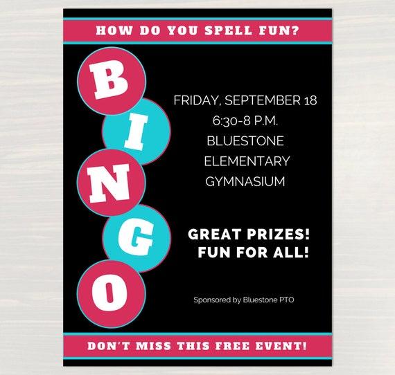 Bingo Night Flyer Canva Template For Pta Pto Church And