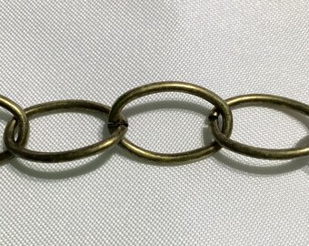 Large Oval Link Vintage Antique Bronze Chain 3 Feet