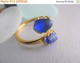 Mothers Day Sale Blue Sea Glass - Double Ring - Beach Glass Ring -Beach Glass Jewelry - Ocean Jewelry Cobalt Blue Ring - Sea Glass Gift - Au