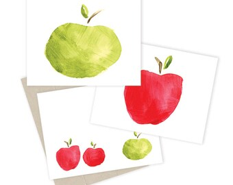 Apples Watercolor Style Notecards
