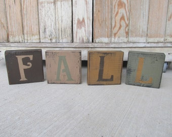 Primitive Hand Painted FALL Wooden Block Letter Set of 4 GCC6202