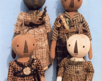 Primitive PATTERN Early Style Harvest Pumpkin Dolls