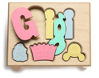 Princess Theme Name Puzzle Stool, Custom Name Puzzle Stool, Baby Gift, Nursery, Wooden Name Puzzle Stool, Baby Gift, Wooden Name Puzzle