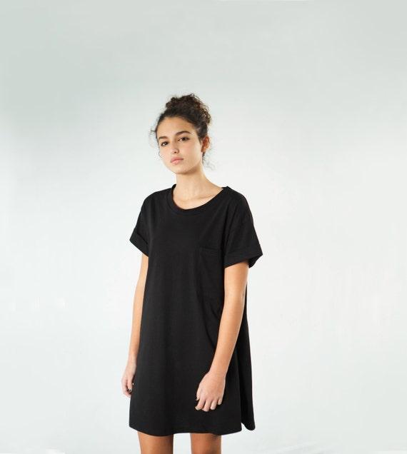 Schwarz-t-Shirt-Kleid Damen-t-Shirt-Kleid