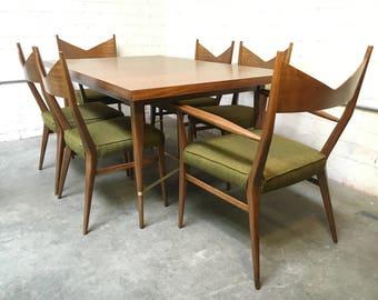 Paul McCobb for Calvin Mid-Century Mahogany Brass Irwin Collection Dining Set