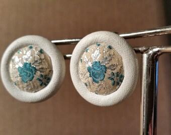 Vintage earrings vintage clip on earrings green floral print white edge, vintage earrings, bridal jewelry, wedding jewelry earrings