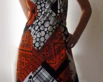 Printed summer dress, 70s. Size M