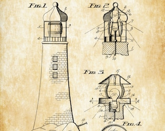 Lighthouse Patent Print - Beach House Decor, Wall Decor, Patent Print, Beach Decor, Lighthouse Decor, Seaside Decor, Lamp Patent, Home Decor