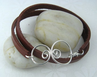 EDDY LEATHER BRACELET, Sterling Silver and Leather Wrap Bracelet with Handmade Swirl Centerpiece | Silver Bracelet